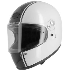 Casque GT RETRO - STRIPES - GLOSS  Blanc/Noir