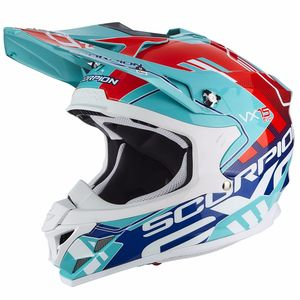 Casque Cross Scorpion Exo Vx-15 Evo Air - Argo Green Blue 2018