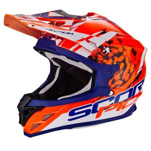 Casque Cross Scorpion Exo Vx-15 Evo Air - Kistune Orange - Blue - White 2018