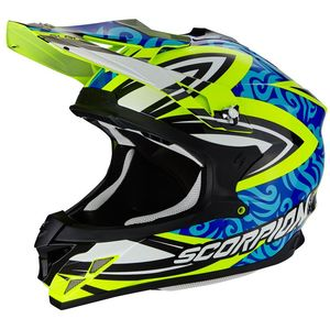 Casque Cross Scorpion Exo Vx-15 Evo Air - Revenge Neon Yellow - Blue - Black 2018
