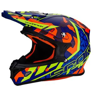 Casque cross VX-21 AIR - FURIO -  BLUE RED NEON YELLOW 2018 Bleu/Orange/Jaune Fluo