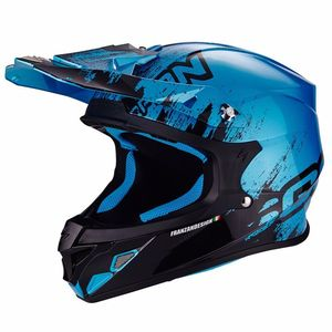 Casque cross VX-21 AIR - MUDIRT - BLACK SKY BLUE 2019 Noir/Bleu