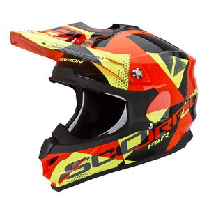 Casque Cross Scorpion Exo Vx-15 Evo Air - Akra Noir Orange Jaune 2017