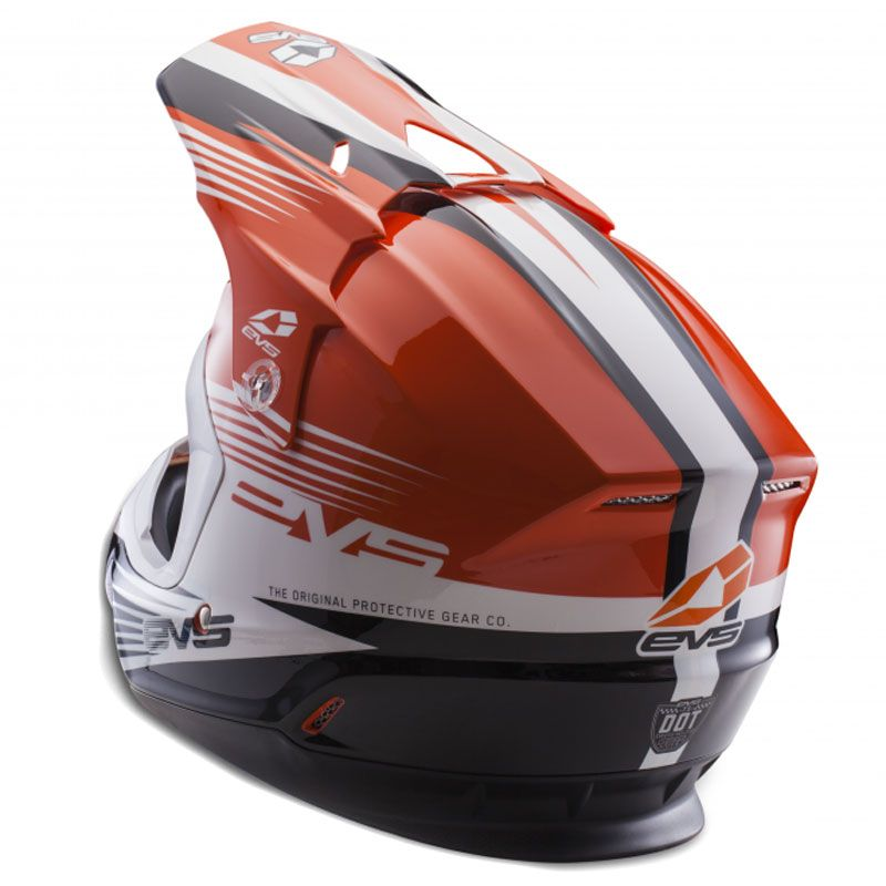 Casque cross EVS T5 WORKS ORANGE WHITE BLACK  2017