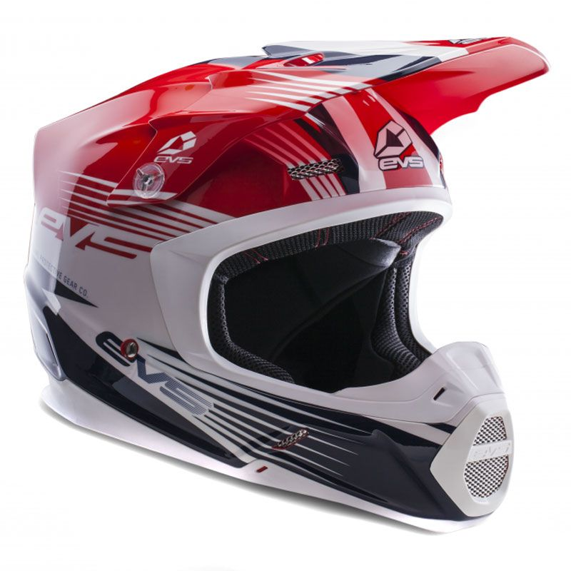 Casque cross EVS T5 WORKS RED WHITE BLUE  2017